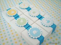 Very cute idea for decorating baby shower favor boxes... or maybe for decorating boxes in a nursery?