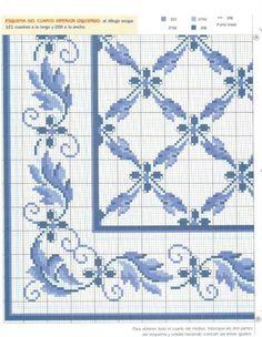 Blue Lattice Table Cloth (part . Cross Stitch Pillow, Cross Stitch Tree, Just Cross Stitch, Stitch Book, Cross Stitch Borders, Cross Stitch Flowers, Cross Stitching, Cross Stitch Embroidery, Hand Embroidery