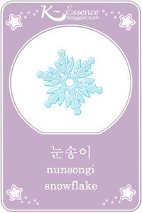 ☆ Snowflake Flashcard ☆    Hangul ~ 눈송이 ☆  Romanized Korean ~ nunsongi ☆   #vocabulary #illustration