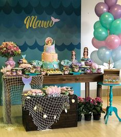 We selected more than 50 photos to be inspired for party decoration in the theme Mermaid or Little Mermaid. Little Mermaid Birthday, Little Mermaid Parties, Baby Girl Birthday, 1st Birthday Parties, Party Decoration, Birthday Decorations, Ocean Party, Mermaid Baby Showers, Baby Party