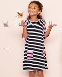 Pima Cotton Boatneck Dress - Girls