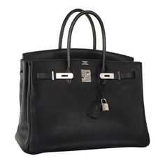 Forever Beauty Hermes Birkin Bag Black 35Cm Palladium ❤ liked on Polyvore featuring bags, handbags, hermes, birkin, 100 leather handbags, real leather handbags, leather handbags, genuine leather handbags and hermès