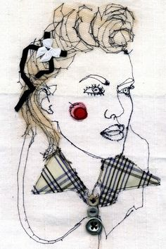 December FlairIllustration by Eleanor Bowley. Portrait Embroidery, Embroidery Art, Thread Art, Thread Painting, A Level Textiles, Creative Textiles, Sewing Art, Textile Jewelry, Free Machine Embroidery