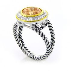 Sterling Silver Gold Vermeil Pave Round CZ Double Cable Champagne Ring