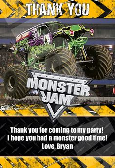 Monster truck birthday invitation monster truck birthday monster monster jam monster trucks birthday party by digipopcards on etsy 799 filmwisefo