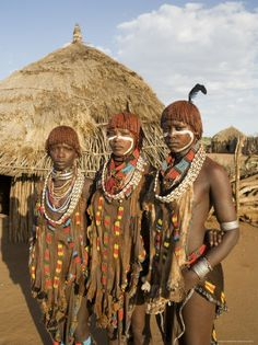 Portrait of Three Young Women of the Hamer Tribe, Southern Ethiopia, Ethiopia