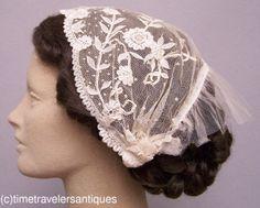 Rare Civil War Era Lady's Brussels Lace Head-Dress | eBay