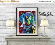 50% Off- Weimaraner Art Dog Angel Art Poster Print of painting by Heather Galler of Painting by Heather Galler (HG887)