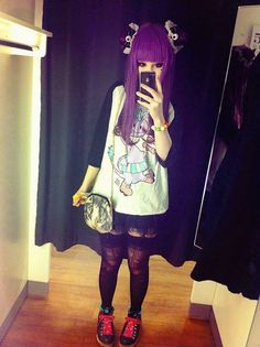 Love the colour Tokyo Fashion, Harajuku Fashion, Harajuku Style, Virtual Fashion, Japanese Fashion, Asian Fashion, Punk Fashion, Gothic Fashion, Pastel Goth Fashion