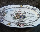 MINT Alfred Meakin Vintage Oval Serving Platter Medway Decor England Dark Brown Multicolor Floral Pattern Butterflies Ivory Purple Yellow