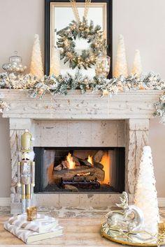 DIY Christmas Mantel and Decor Ideas Mixed Metallic Holiday Mantel Decor Ideas Diy Christmas Fireplace, Christmas Mantels, Noel Christmas, Christmas Design, Christmas Cactus, Family Christmas, Christmas Stockings, Christmas Gifts, Christmas Ornaments