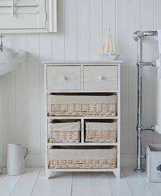Cape Cod white storage furniture from The White Cottage - bathroom, bedroom and living - Large 4 basket 2 drawers White Bathroom Storage, White Bathroom Furniture, Glass Bathroom Shelves, Cottage Furniture, Bathroom Cabinets, White Furniture, Furniture Design, Cape Cod Bathroom, Storage Cabinets
