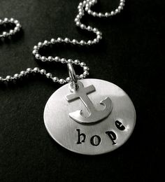 """Hand Stamped Sterling Silver Necklace """"Hope"""" on Etsy, $45.00"""