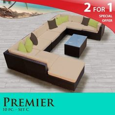"""Premier Outdoor Wicker 10 Piece Patio Set Sand Covers -10C by TK Classics. $2268.00. Affordable and comfortable Modular Furniture allows for endless arrangement possibilities. """"No Sag"""" solid wicker bottoms with extra flexible strapping providing long-lasting suspension. Versatile design for ANY patio size. Fully Assembled - ready to relax and enjoy. 4"""" Welted cushions for a luxurious look and feel. 2 for 1 Special: Purchase 1 of our Classic Patio Sets and receive ..."""