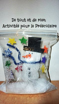 Making a snowglobe with a Ziploc bag: Frosty the snowbag! Frosty the snowbag!
