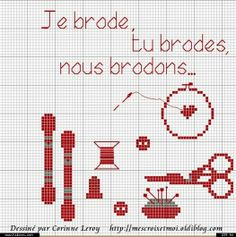 Je brode, tu brodes, nous brodons... (I embroider, you embroider, we embroider...)