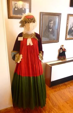 Folklore Museum of Skopelos Greek Traditional Dress, Greek Costumes, Red Gowns, Greek Clothing, Green Satin, Folk Costume, Formal Dresses, Wedding Dresses, Cotton Fabric