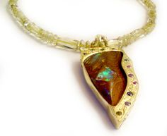 Custom Necklace by Micky Roof for The Jewelbox in Ithaca, NY. #gems #jewel #jewelry #customdesign #opal