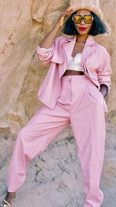 #winter #fashion Pink Costume With High Waisted  Pants