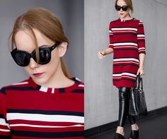 Get this look: http://lb.nu/look/8146205  More looks by Silver Girl: http://lb.nu/silvergirl  Items in this look:  Zara Red Stripe Dress, Helmut Lang Leather Leggings, Massimo Dutti Leather Mules, Quay Black Sunglasses, Armani Jeans Black Handbag   #chic #edgy #elegant #red #stripes #dress #leatherleggings #mules #clogs