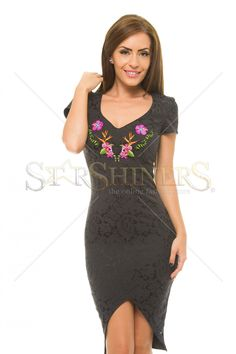 StarShinerS Embroidered Paraguay Black Dress Clothing Items, Clothing Patterns, Baptism Dress, Fabric Textures, Prom Dresses, Wedding Dresses, Trendy Outfits, Short Sleeves, Tropical