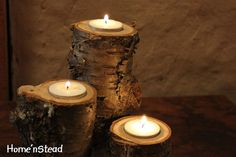rustic candles. (use a router on a log)