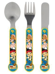 Jake-aterimet sopivat pienen merirosvon käteen. Sisältää lusikan, haarukan ja veitsen. Aterimet kestävät konepesun. Ei mikroaaltouuniin. 5+ Ice Cream Scoop, Measuring Spoons, Tableware, Disney Disney, Unique, Lava, Flatware, Human Height, Paper Mill