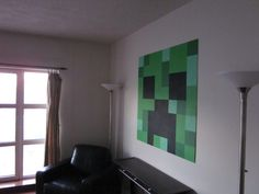 minecraft-creeper-side: the perfect art work for my son's room! Minecraft Room Decor, Minecraft Wall, Minecraft Bedroom, Boys Room Decor, Kids Decor, Bedroom Themes, Kids Bedroom, Bedroom Ideas, Bedrooms
