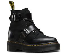 Making a statement, the Masha Creeper boot in a combination of Polished Smooth leather and Hi Suede, has a bold presence with an extra added platform into the sole, creating extra height and extra attitude. Leather straps cross the ankle and mid -section, and are complimented with gunmetal buckles, flat laces and tonal eyelets. Signature yellow Z-welt stitching and Goodyear welting are a nod to the original Dr.Martens style. The bouncy Airwair sole is oil-and-fat-resistant, hard wearing and…