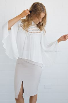 frankie lace top - ivory |