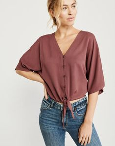 Tie-Front Top, TERRACOTTA RED, spring style Abercrombie #ad