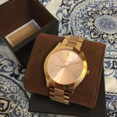 Michael Kors Slim Runway bracelet watch Simple but stunning rose gold watch by MK. Used a couple times. In stellar condition. Comes with original box. No trades please. Michael Kors Accessories Watches