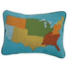 Jonathan Adler USA Map Needlepoint Pillow #patriotic #election #vote