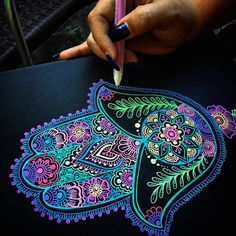 Art by Shantall Alam - Black Paper | Gelly Roll pens (Sakura)