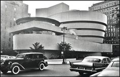 NYC. Frank Lloyd Wright's Guggenheim // The building seems to me much more modern than the 1959 cars.