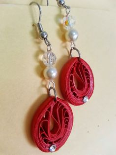 Handmade waterproof quilled earrings material : acid free paper with swarovski flat base, crystals and pearls KM Q35