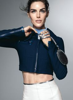 Sexy and Sporty: Hilary Rhoda Demonstrates How to Show Off Your Best Assets | Flaunt abs with a structured cropped jacket