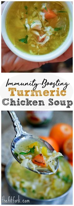 Immunity Boosting Turmeric Chicken Soup chases away the chills and provides nutrients you need to start feeling better.  Also, make a big batch and save leftovers for a light lunch or weeknight dinner.
