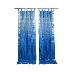Mogulinterior 2 Sari Curtains Blue Brocade Silk Sari Drapes Curtain... ($65) ❤ liked on Polyvore featuring home, home decor, window treatments, curtains, window drapery, blue window treatments, blue draperies and blue home decor