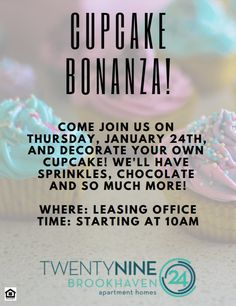 Need a sweet treat this week? Join us for a cupcake bonanza on Thursday! We'll have toppings galore for your to customize your cupcake. Leasing Office, Luxury Apartments, Thursday, Cupcake, Join, Sweet, Cupcakes, Cupcake Cakes, Cup Cakes