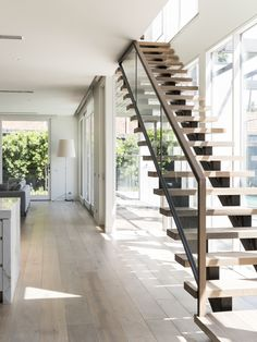 Stair | Modern | Design | Architecture | Steel Stringers | Stainless Steel | Framed | Glass | Balustrade | Handrail | Home | Stairway | Timber | American Oak | Feature