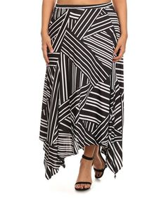 Another great find on #zulily! Black & White Abstract Handkerchief Skirt - Plus #zulilyfinds