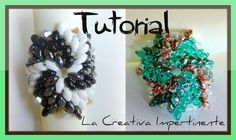 DIY beads ring - tutorial anello superduo e twin - Tricolor pinwheel