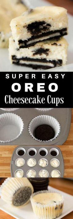 Mini Oreo Cheesecake Cupcakes So delicious and super easy to make with only 6 simple ingredients: oreo cream cheese sugar sour cream eggs vanilla. Theres a yummy oreo crust at the bottom. The perfect quick and easy dessert recipe. Dessert Oreo, Brownie Desserts, Mini Desserts, Mini Cheesecakes With Oreos, Appetizer Dessert, Desserts With Oreos, Appetizer Recipes, Bite Size Desserts, Party Desserts