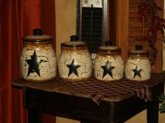 handpainted primitive star kitchen decor set by u003c3 for the home pinterest primitive stars kitchen decor and primitives