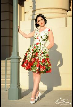 Pinup Couture Sadie Dress in Red Floral Border Print. Heels are too high for sadly.
