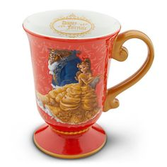 """New.  The mug is tulip shaped and features Belle and The Beast from Disney's Beauty and the Beast.  The handle and trims are Golden filigree.  Golden Disney Fairytale Disigner Collection logo inside lip.   Ceramic.  12 oz. size.  5"""" H x 4"""" D"""