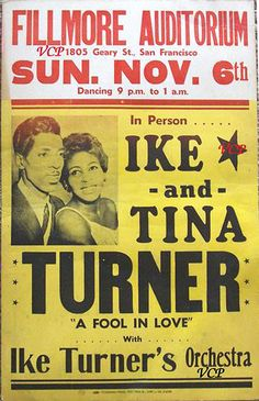 Ike & Tina Turner Concert Poster — November 6, 1960 — Fillmore Auditorium, San Francisco, CA