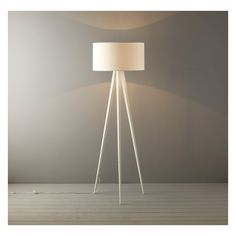 Yves White Floor Lamp With White Silk Shade White Floor Lamp, Floor Lamp Base, Floor Lamps, Tripod Lamp, White Silk, Drum Shade, Lamp Bases, Home Decor Styles, Interior Decorating