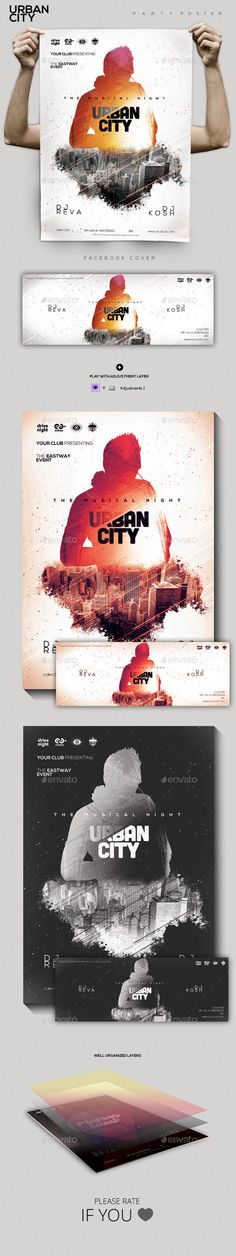 Urban City Party Flyer/Poster — Photoshop PSD #drum and bass #hipster • Available here → https://graphicriver.net/item/urban-city-party-flyerposter/9839193?ref=pxcr